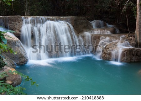 Waterfalls cascading off small cliffs into a turquoise pool - stock photo