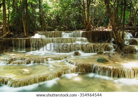 Waterfalls Huay Mae Kamin in   national park forest ,Thailand
