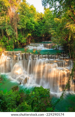 Waterfalls In Deep Forest at Huai Mae Khamin Waterfall in National Park Kanchanaburi Thailand - stock photo