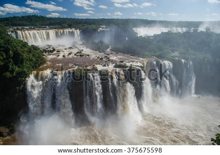 Waterfalls in Iguazu Falls National Park, border of Brazil and Argentina