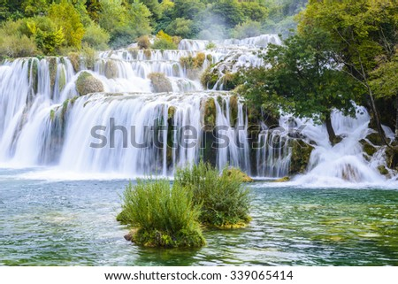 Waterfalls in Krka National Park, Croatia - stock photo