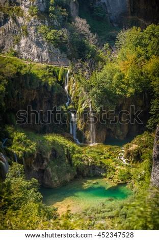 Waterfalls in National Park Plitvice Lakes. Croatia - stock photo