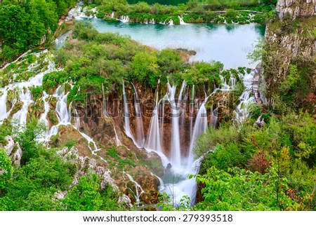 Waterfalls in Plitvice National Park, Croatia - stock photo