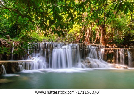 waterfalls in Thailand forest - stock photo