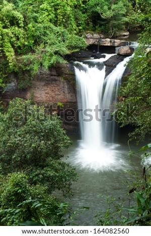 waterfalls in  Thailand,Haew suwat waterfalls - stock photo