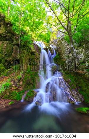 Waterfalls in the mountains in Transylvania - stock photo