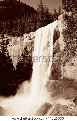 Waterfalls in Yosemite National Park in California BW - stock photo