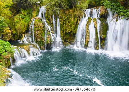 Waterfalls of Martin Brod on Una national park, Bosnia and Herzegovina - stock photo