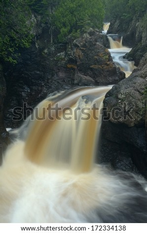 Waterfalls on the Cascade River,  Cascade River State Park Minnesota - stock photo