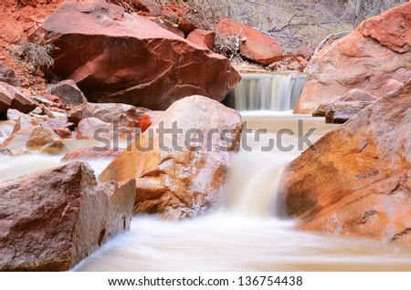 Waterfalls on the Virgin River by Narrows Canyon in Zion National Park - stock photo