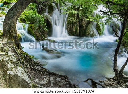 Waterfalls Plitvice, National Park in Croatia - stock photo
