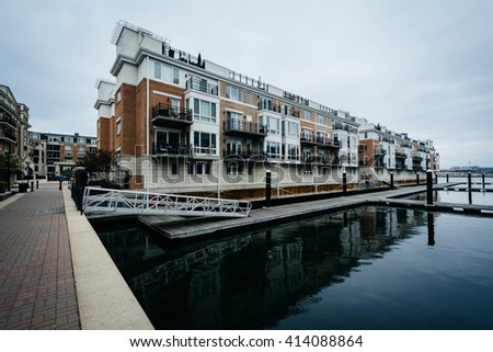 Waterfront apartment buildings at the Inner Harbor, in Baltimore, Maryland. - stock photo