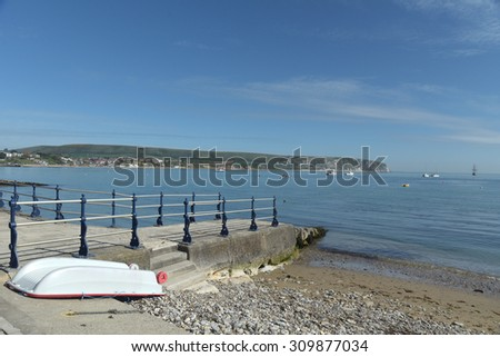Waterfront at Swanage in Dorset - stock photo