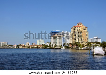 Waterfront buildings and scenery from Miami Beach, Florida