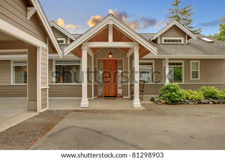 Waterfront home entrance door. - stock photo