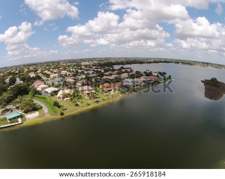 Waterfront homes in South Florida aerial view - stock photo