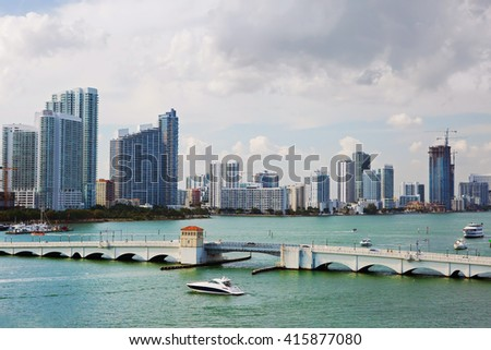 Waterfront Miami Embankment - the card of Miami, known to every visitor to this delightful city.