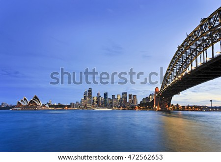 Waterfront of Sydney city CBD around Circular Quay with Harbour bridge as seen across blurred blue waters of Harbour at sunset.