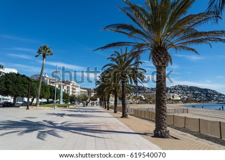 Waterfront promenade of the city of Roses, Costa Brava, Catalonia, Spain