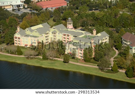 Waterfront timeshare building in Orlando Florida seen from above - stock photo