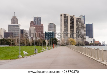 Waterfront Walkway Detroit Downtown City Skyline River Waterfront - stock photo