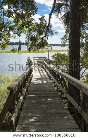 waterfront wooded property with dock, vertical shot - stock photo