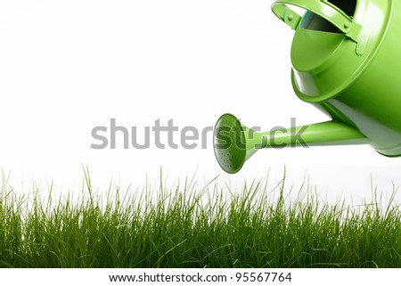 Watering can and grass - stock photo