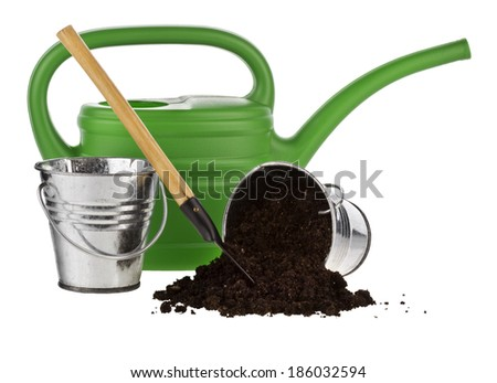 watering can, bucket, shovel, soil isolated on white background. - stock photo