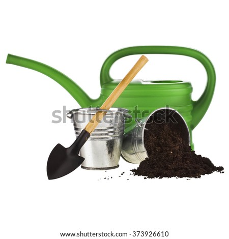 watering can, bucket, shovel, soil isolated on white background - stock photo