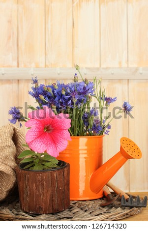 watering can, tools and flowers on wooden background - stock photo