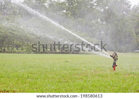 Watering garden equipment sprinkler hose for irrigation plants.