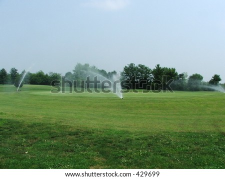watering green - stock photo