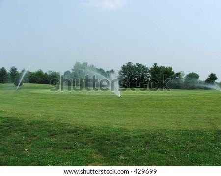 watering green - stock photo