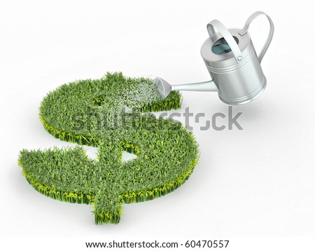 Watering lawns in the form of sign dollar. 3d