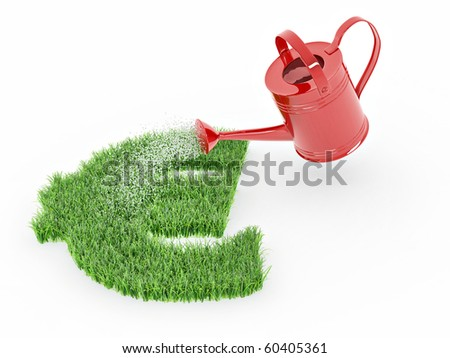 Watering lawns in the form of sign euro. 3d - stock photo