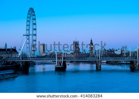 Waterloo Bridge at sunrise , London  - stock photo