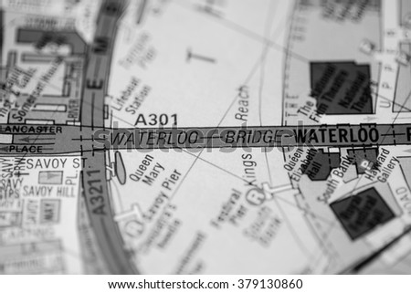 Waterloo Bridge. London, UK map.
