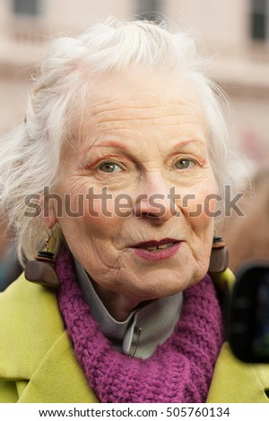"Waterloo Place, London, UK. 6th February 2016. EDITORIAL - Dame Vivienne Westwood, British fashion designer, speaks out at a rally, in support of the junior doctor's ""Masked March"" protest in London."