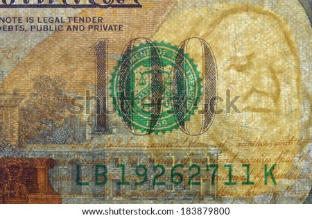 Watermark on redesigned new hundred dollar bill. One of paper securities. - stock photo