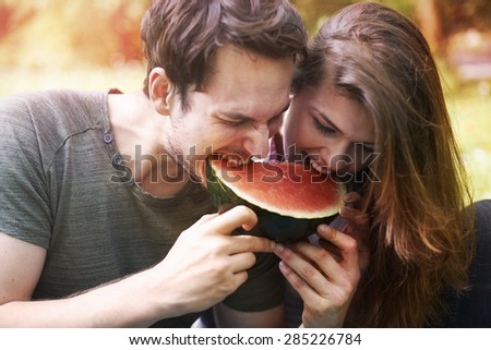 Watermelon as a symbol of summer - stock photo
