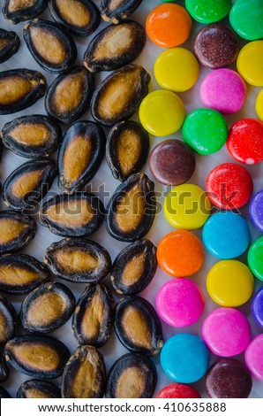 Watermelon candy tablets - stock photo
