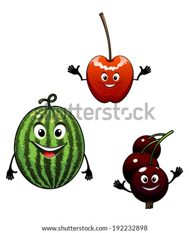 Watermelon, currant and cherry cartoon fruits for mascot or another logo design. Vector version also available in gallery - stock photo