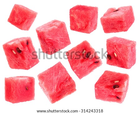 Watermelon fruit cube slice closeup isolated on white background