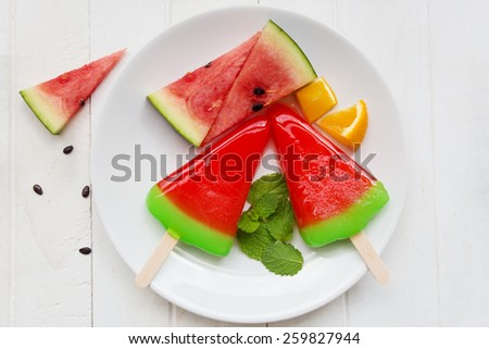 watermelon ice cream , The view from the top - stock photo