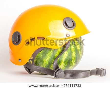 Watermelon in a helmet for maximum protection