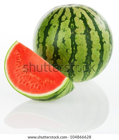 Watermelon - isolated on a white background - stock photo