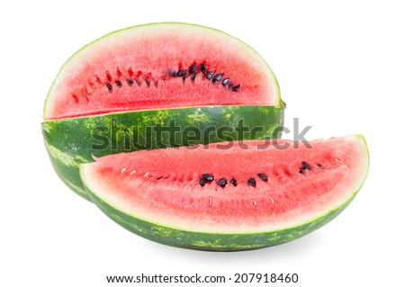 Watermelon isolated on white background with clipping path - stock photo