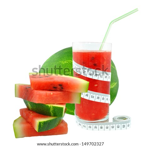 Watermelon juice and meter on white background