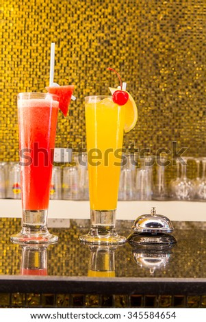 watermelon juice and Smoothie orange for health,  fresh drink, juice - stock photo