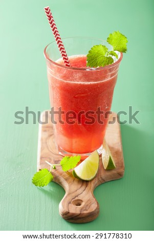 watermelon lime smoothie in glasses - stock photo